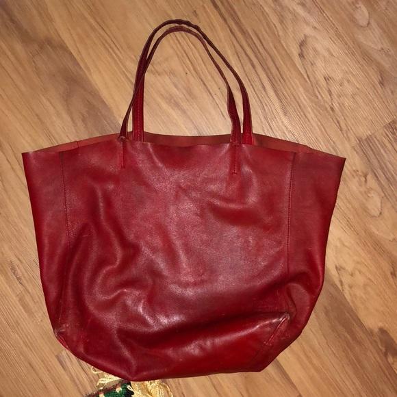 45024f598d4 ... CELINE Horizontal Cabas Red Plain Leather Tote Bag quality design d1d73  12e74 ...